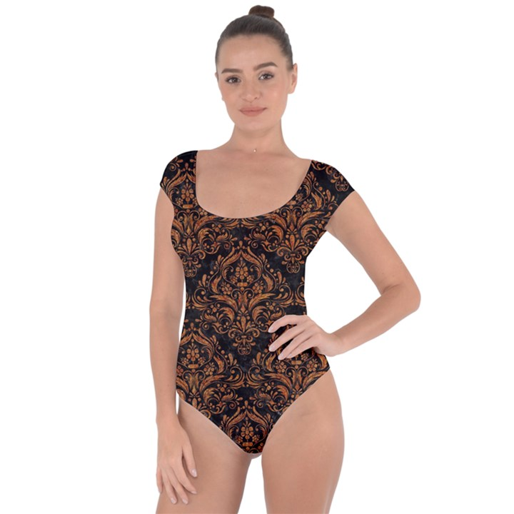 DAMASK1 BLACK MARBLE & RUSTED METAL (R) Short Sleeve Leotard