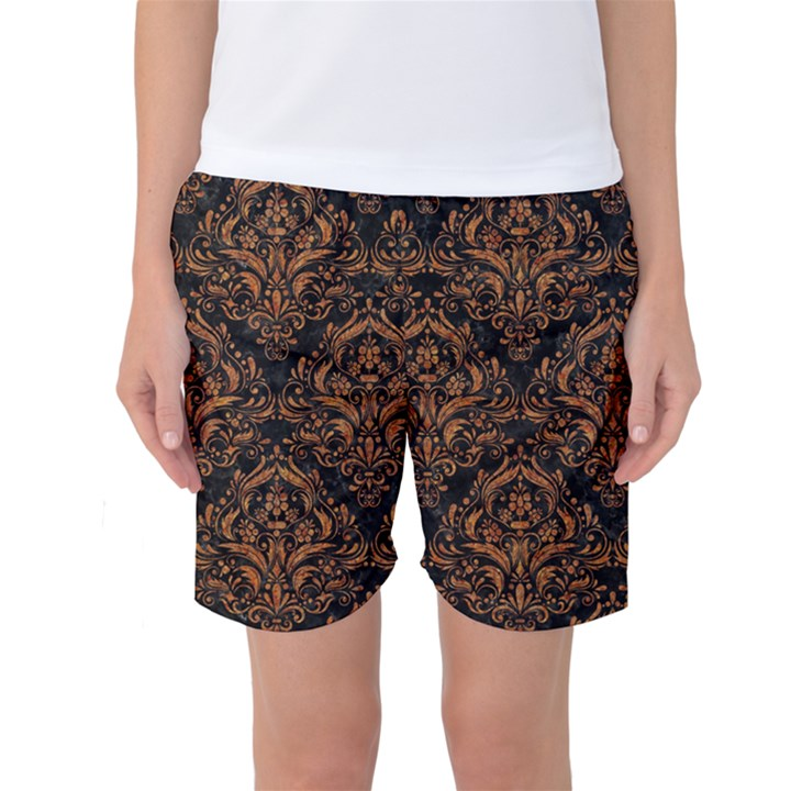 DAMASK1 BLACK MARBLE & RUSTED METAL (R) Women s Basketball Shorts