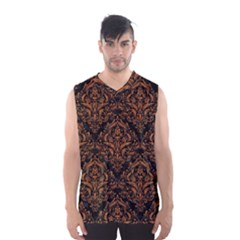 DAMASK1 BLACK MARBLE & RUSTED METAL (R) Men s Basketball Tank Top