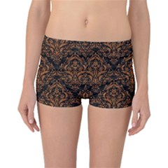 DAMASK1 BLACK MARBLE & RUSTED METAL (R) Boyleg Bikini Bottoms
