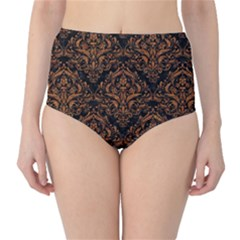 DAMASK1 BLACK MARBLE & RUSTED METAL (R) High-Waist Bikini Bottoms