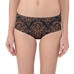 DAMASK1 BLACK MARBLE & RUSTED METAL (R) Mid-Waist Bikini Bottoms