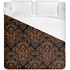 DAMASK1 BLACK MARBLE & RUSTED METAL (R) Duvet Cover (King Size)