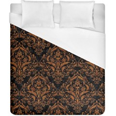 DAMASK1 BLACK MARBLE & RUSTED METAL (R) Duvet Cover (California King Size)