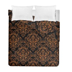 DAMASK1 BLACK MARBLE & RUSTED METAL (R) Duvet Cover Double Side (Full/ Double Size)