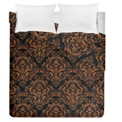 DAMASK1 BLACK MARBLE & RUSTED METAL (R) Duvet Cover Double Side (Queen Size)