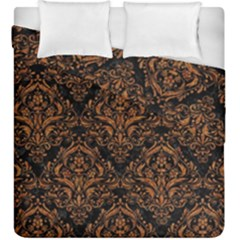 DAMASK1 BLACK MARBLE & RUSTED METAL (R) Duvet Cover Double Side (King Size)