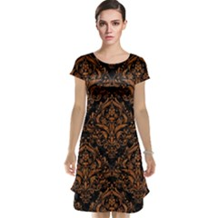 DAMASK1 BLACK MARBLE & RUSTED METAL (R) Cap Sleeve Nightdress
