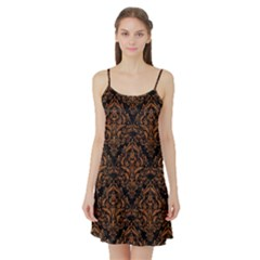 DAMASK1 BLACK MARBLE & RUSTED METAL (R) Satin Night Slip