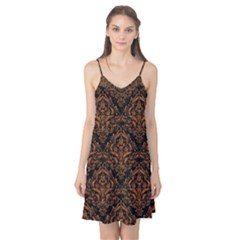 DAMASK1 BLACK MARBLE & RUSTED METAL (R) Camis Nightgown
