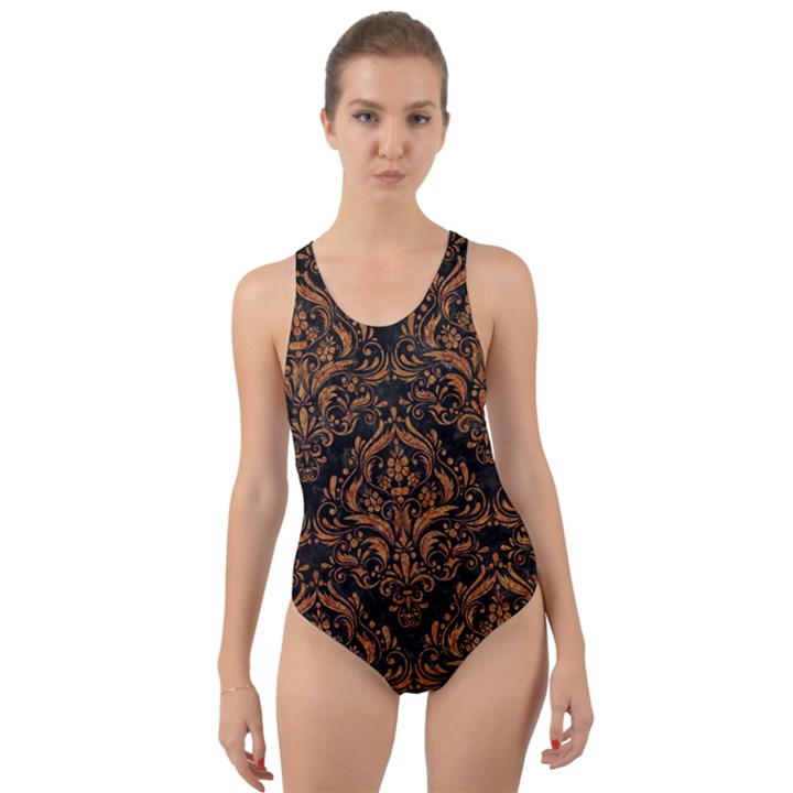 DAMASK1 BLACK MARBLE & RUSTED METAL (R) Cut-Out Back One Piece Swimsuit