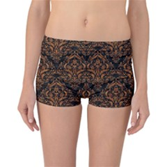 DAMASK1 BLACK MARBLE & RUSTED METAL (R) Reversible Boyleg Bikini Bottoms