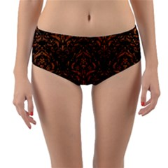 DAMASK1 BLACK MARBLE & RUSTED METAL (R) Reversible Mid-Waist Bikini Bottoms