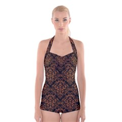 DAMASK1 BLACK MARBLE & RUSTED METAL (R) Boyleg Halter Swimsuit