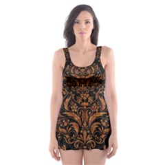 Damask1 Black Marble & Rusted Metal (r) Skater Dress Swimsuit