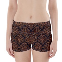 DAMASK1 BLACK MARBLE & RUSTED METAL (R) Boyleg Bikini Wrap Bottoms