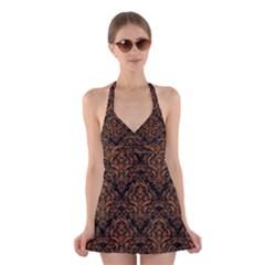 DAMASK1 BLACK MARBLE & RUSTED METAL (R) Halter Dress Swimsuit