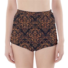 DAMASK1 BLACK MARBLE & RUSTED METAL (R) High-Waisted Bikini Bottoms