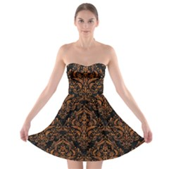 DAMASK1 BLACK MARBLE & RUSTED METAL (R) Strapless Bra Top Dress