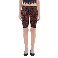 DAMASK1 BLACK MARBLE & RUSTED METAL (R) Yoga Cropped Leggings