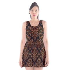 DAMASK1 BLACK MARBLE & RUSTED METAL (R) Scoop Neck Skater Dress