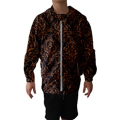 DAMASK1 BLACK MARBLE & RUSTED METAL (R) Hooded Wind Breaker (Kids)