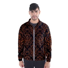 DAMASK1 BLACK MARBLE & RUSTED METAL (R) Wind Breaker (Men)