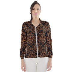 DAMASK1 BLACK MARBLE & RUSTED METAL (R) Wind Breaker (Women)