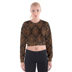 DAMASK1 BLACK MARBLE & RUSTED METAL (R) Cropped Sweatshirt