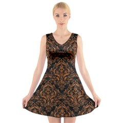 DAMASK1 BLACK MARBLE & RUSTED METAL (R) V-Neck Sleeveless Skater Dress