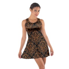 DAMASK1 BLACK MARBLE & RUSTED METAL (R) Cotton Racerback Dress