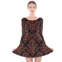 DAMASK1 BLACK MARBLE & RUSTED METAL (R) Long Sleeve Velvet Skater Dress