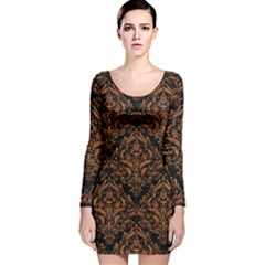 DAMASK1 BLACK MARBLE & RUSTED METAL (R) Long Sleeve Velvet Bodycon Dress