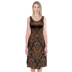 DAMASK1 BLACK MARBLE & RUSTED METAL (R) Midi Sleeveless Dress
