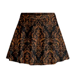 DAMASK1 BLACK MARBLE & RUSTED METAL (R) Mini Flare Skirt