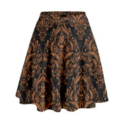 DAMASK1 BLACK MARBLE & RUSTED METAL (R) High Waist Skirt