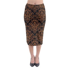 DAMASK1 BLACK MARBLE & RUSTED METAL (R) Midi Pencil Skirt