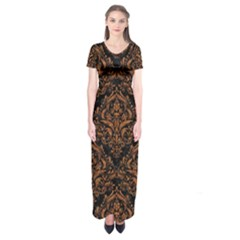 DAMASK1 BLACK MARBLE & RUSTED METAL (R) Short Sleeve Maxi Dress