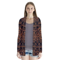 DAMASK1 BLACK MARBLE & RUSTED METAL (R) Drape Collar Cardigan
