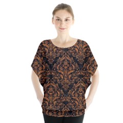 DAMASK1 BLACK MARBLE & RUSTED METAL (R) Blouse