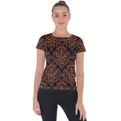 DAMASK1 BLACK MARBLE & RUSTED METAL (R) Short Sleeve Sports Top