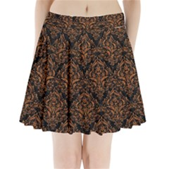 DAMASK1 BLACK MARBLE & RUSTED METAL (R) Pleated Mini Skirt