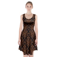 DAMASK1 BLACK MARBLE & RUSTED METAL (R) Racerback Midi Dress