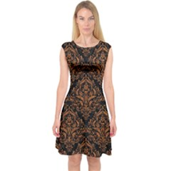 DAMASK1 BLACK MARBLE & RUSTED METAL (R) Capsleeve Midi Dress