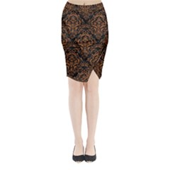 DAMASK1 BLACK MARBLE & RUSTED METAL (R) Midi Wrap Pencil Skirt
