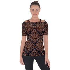 DAMASK1 BLACK MARBLE & RUSTED METAL (R) Short Sleeve Top