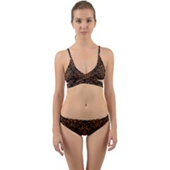 DAMASK1 BLACK MARBLE & RUSTED METAL (R) Wrap Around Bikini Set