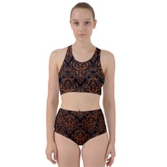 DAMASK1 BLACK MARBLE & RUSTED METAL (R) Racer Back Bikini Set