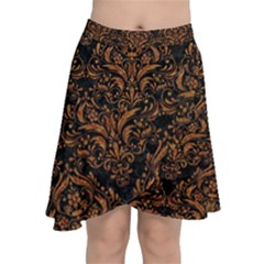 DAMASK1 BLACK MARBLE & RUSTED METAL (R) Chiffon Wrap
