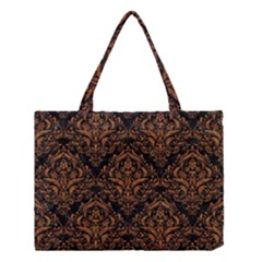 DAMASK1 BLACK MARBLE & RUSTED METAL (R) Medium Tote Bag